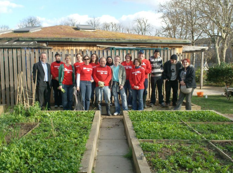 Group of Bank of America volunteers in the Bromley by Bow Garden