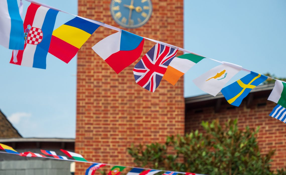 Flags of different nationalities outside the Bromley by Bow Centre